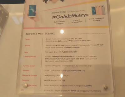 Spesfikasi Zenfone 3 Max versi Snapdragon RAM 3GB