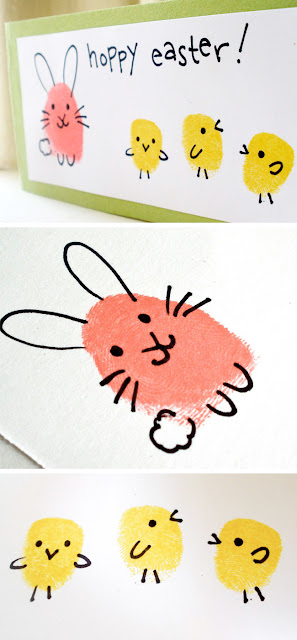 Easter bunny and chick fingerprint craft idea for kids
