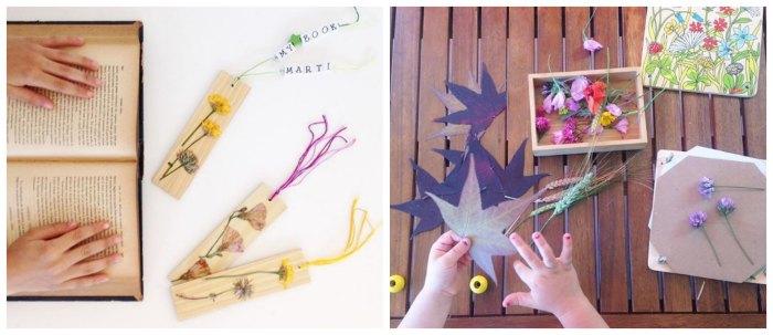 manualidades, diy, crafts, actividades infantiles primavera motricidad fina marcapaginas flores secas, prensa