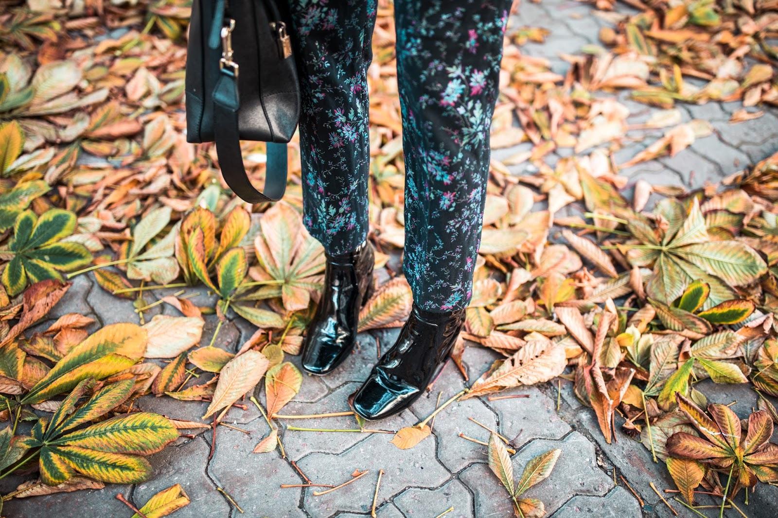 floral pants patent boots