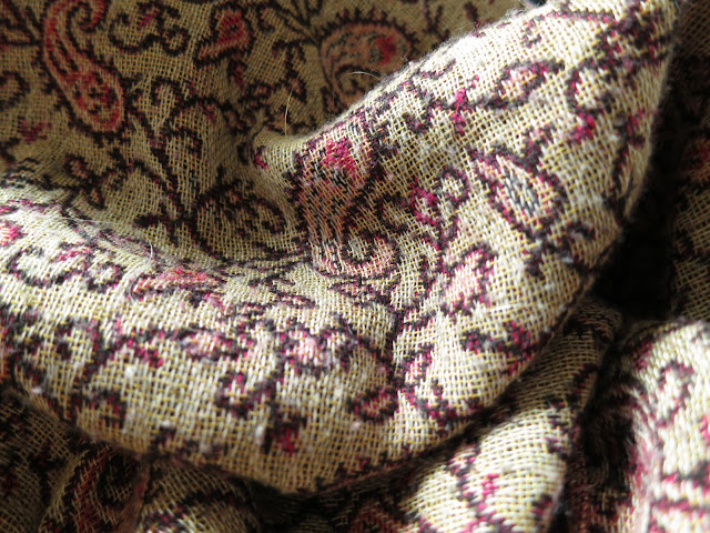 Crumbled brown and red shawl with paisley influenced pattern