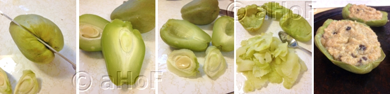 Cutting and removing seed and flesh from chayote
