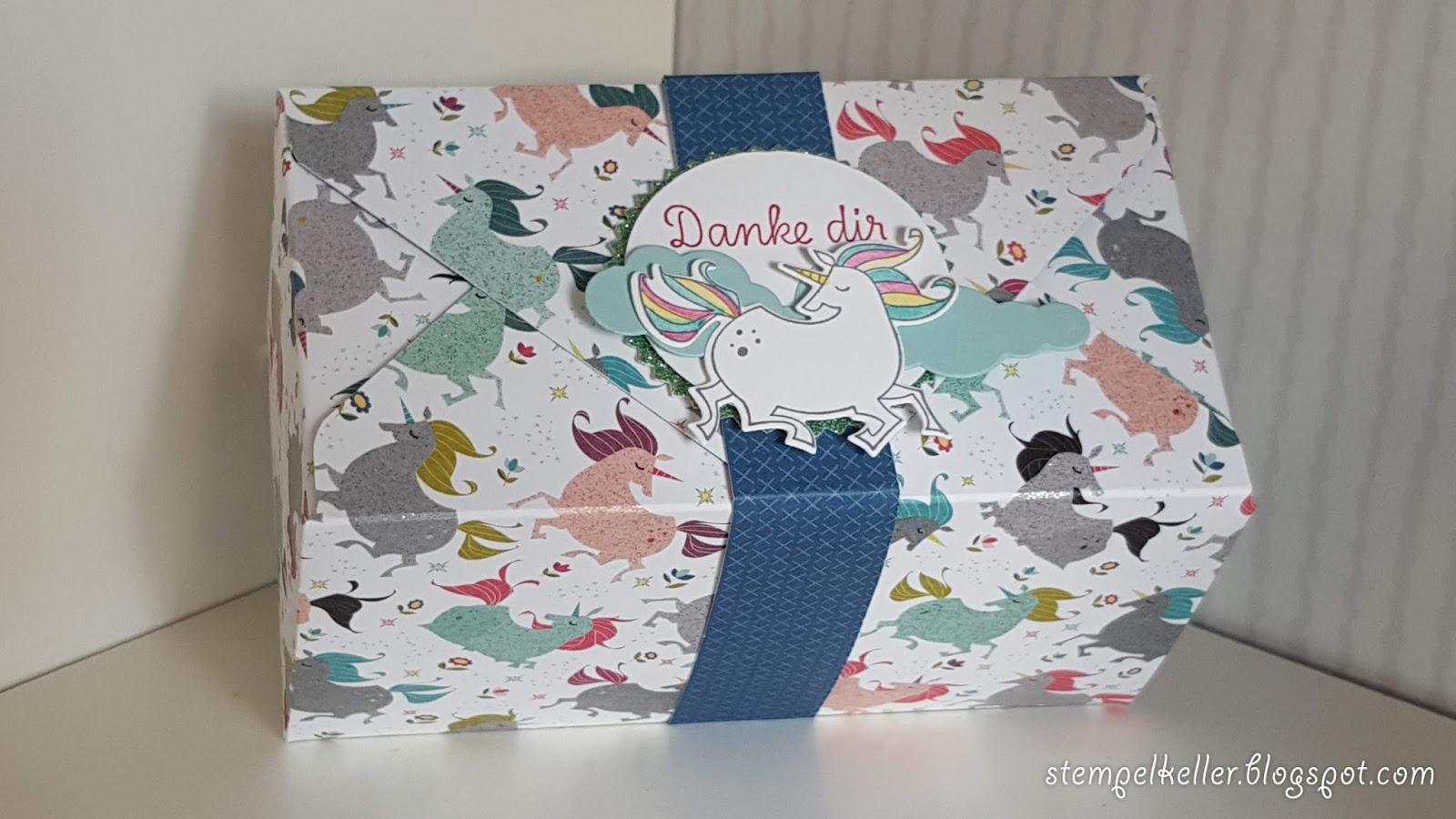 Stempelkeller einhorn geschenkverpackung mit dem envelope punchboard - Einhorn geschenkverpackung ...