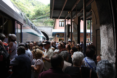 Crowded Vernazza Train Station, Cinque Terre, Italy