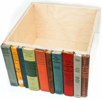 Upcycle old books before donating and recreate this book crate