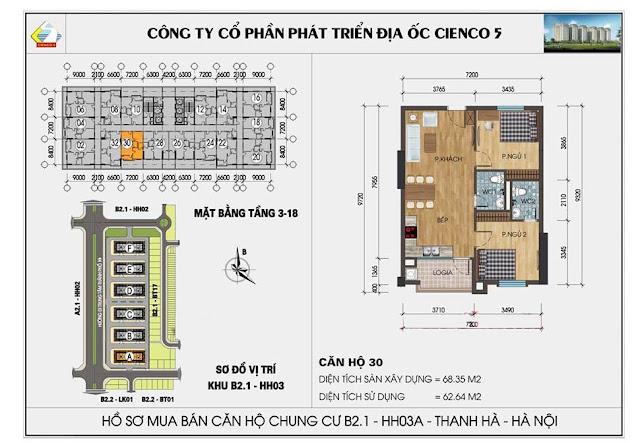 Sơ đồ thiết kế chi tiết căn hộ 30 chung cư B2.1 HH03 Thanh Hà