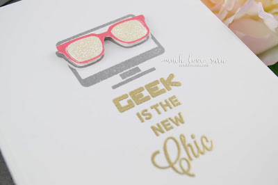 This sweet and simple card featured the brand new Fun Stampers Journey stamp set Geek Chic.