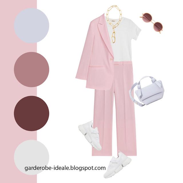 Светлый розовый костюм с белой футболкой и кроссовками