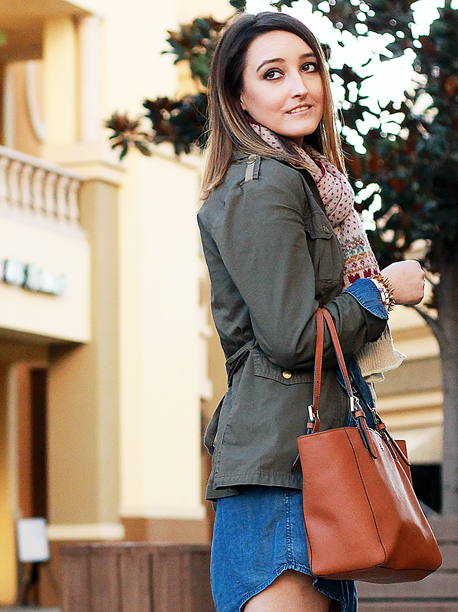 Fall style: Military Jacket and Denim Dress