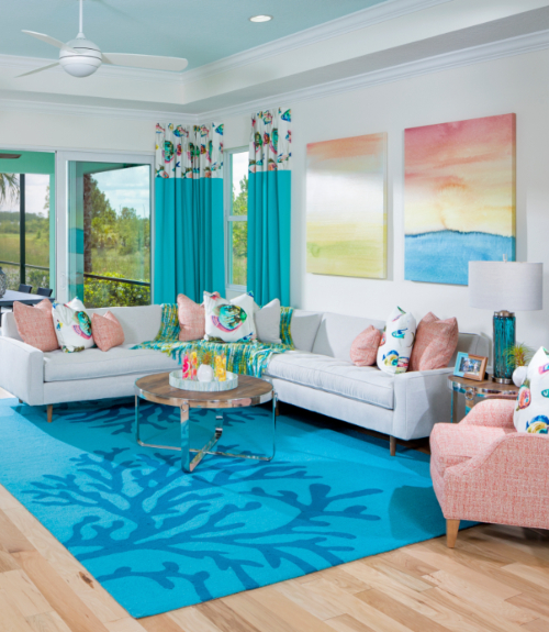 Blue Coral Reef Branch Area Rug Living Room