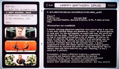 Mensaje Peter Weyland - Tyrell Blade Runner