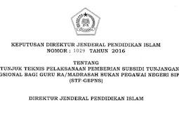Usulan Calon Penerima Subsidi Tunjangan Fungsional Bagi Guru RA/Madrasah Bukan PNS (STF-GBPNS) Tahun 2017