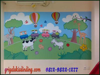 Lukis dinding kartun kelas TK Dan Paud
