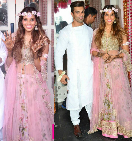 Bipasha Looked Lovely in Baby Pink Floral Lehenga  at Their Mehendi Ceremony