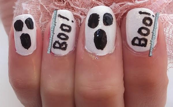 Fantasma do Halloween Nail Art