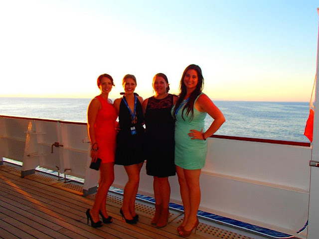 Girls in Cocktail dresses on cruise