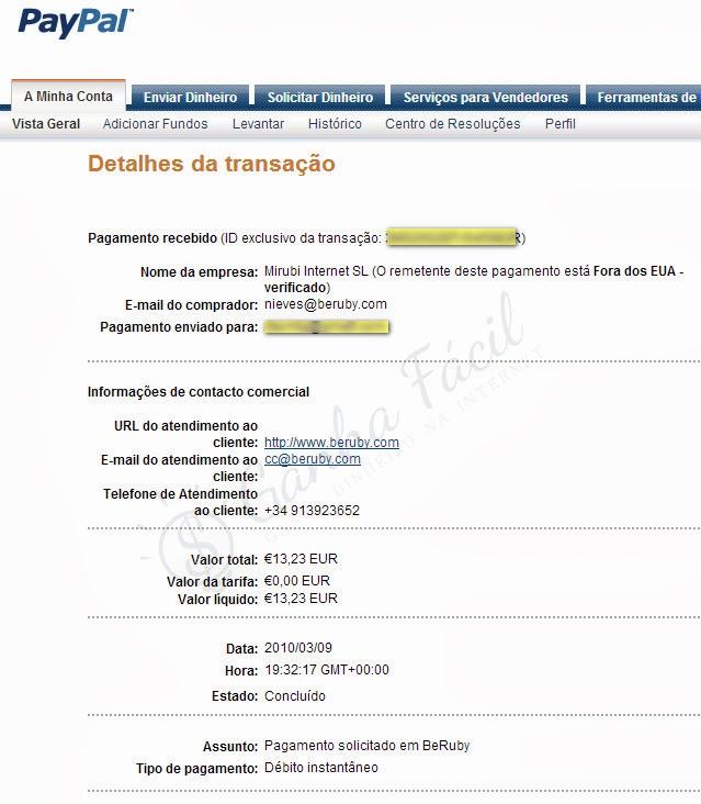 Pagamento beruby por transfer ncia banc ria ganha for Transferencia bancaria