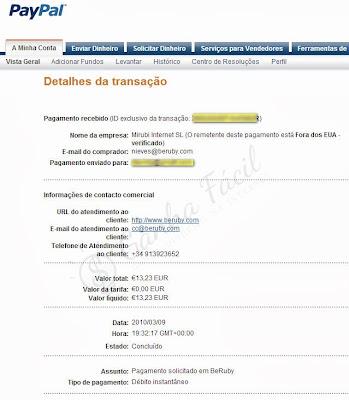 pagamento beruby banco transferência dinheiro euros euro ganha ganhar