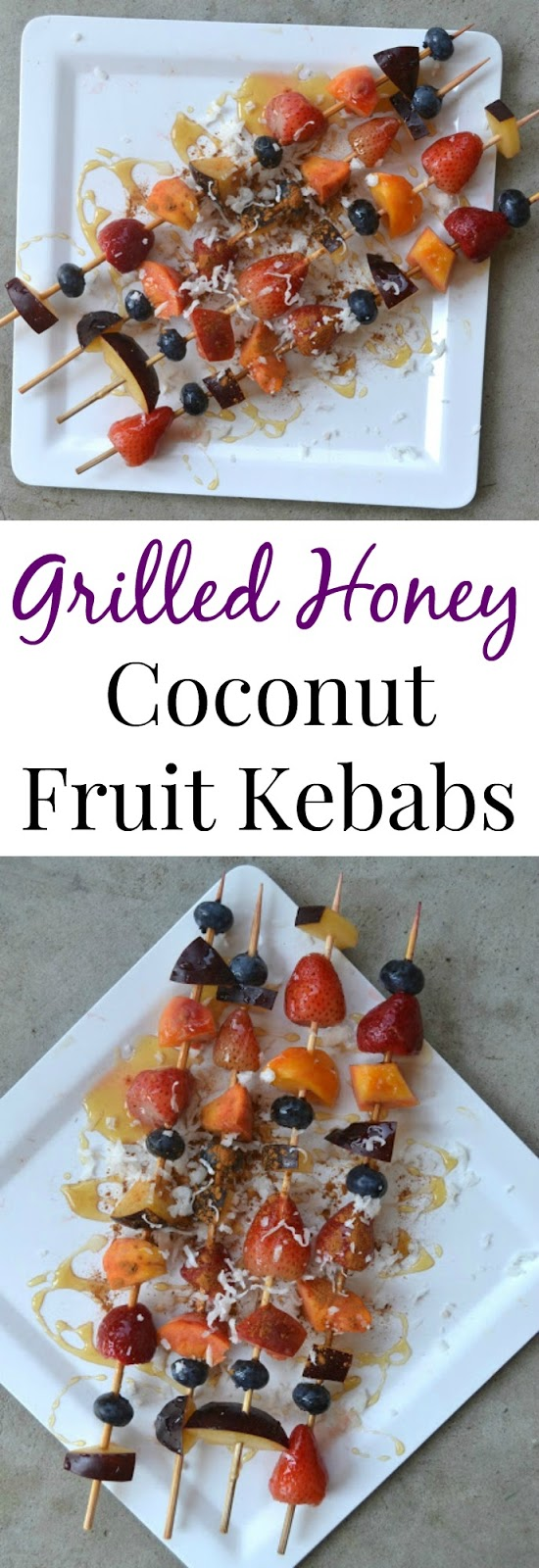 These Grilled Honey Coconut Fruit Kebabs make the perfect healthy dessert and are simple to make!