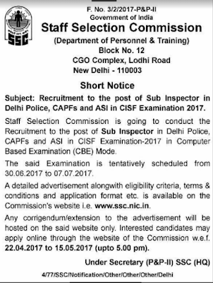 SSC Delhi Police Recruitment 2017 SI, CAPFs, ASI in CISF Examination