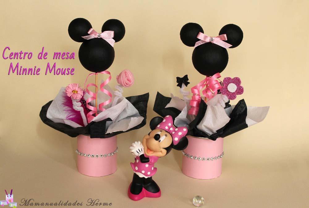 Centro de mesa minnie mouse con botellas de pet como - Centros de mesa con botellas ...