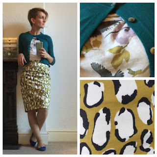 H&M print top and Boden animal print skirt