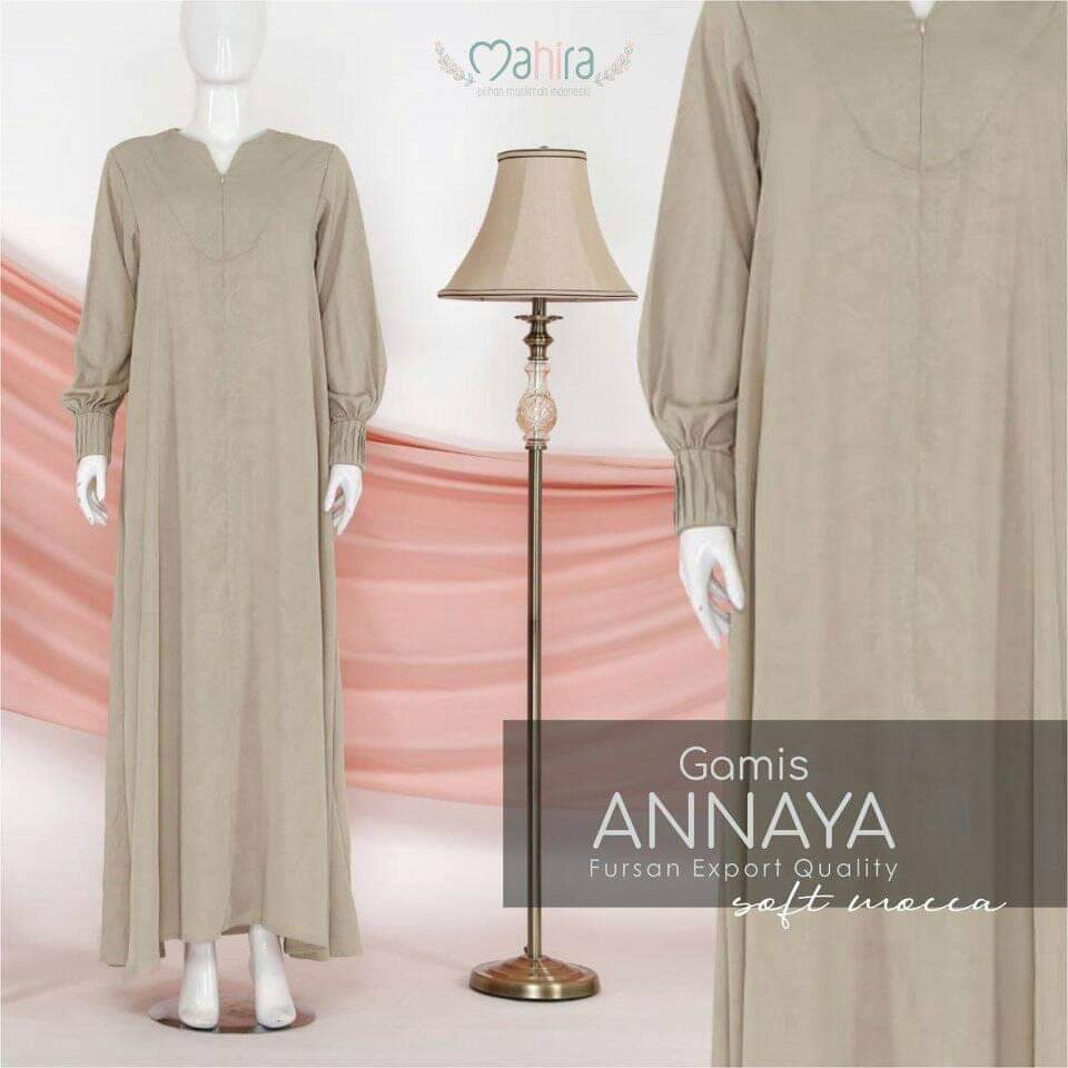 Gamis Annaya Fursan Export Quality Soft Mocca