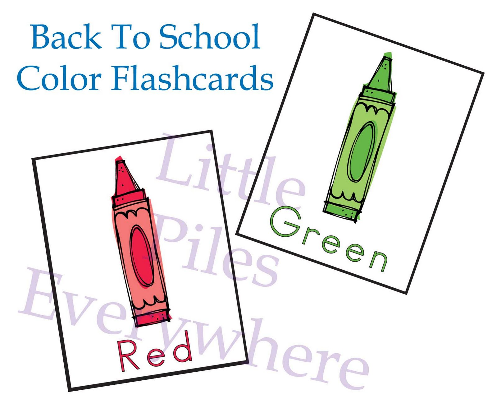 Little Piles Everywhere Back To School Color Flashcards