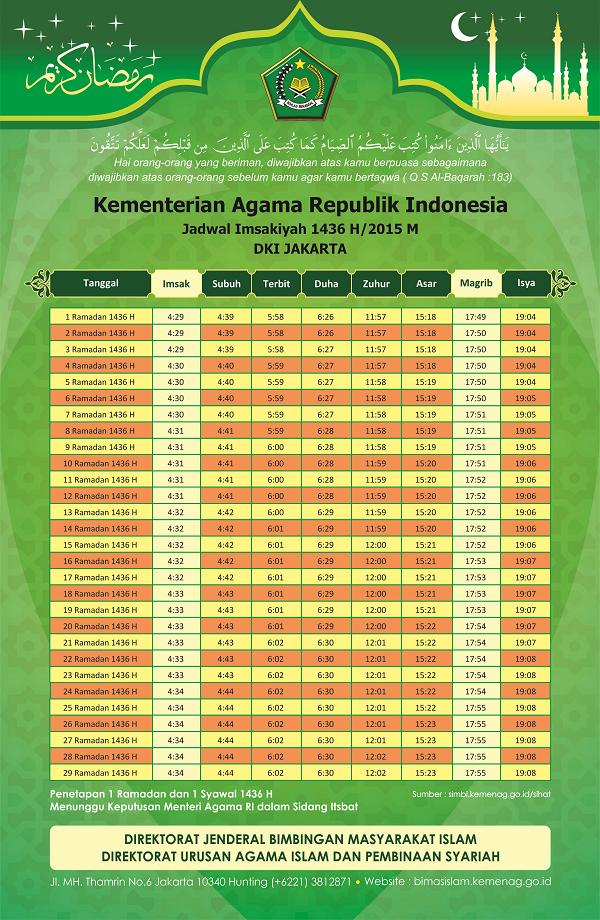 Jadwal Imsakiyah Ramadhan 1436 H/2015 M untuk DKI Jakarta