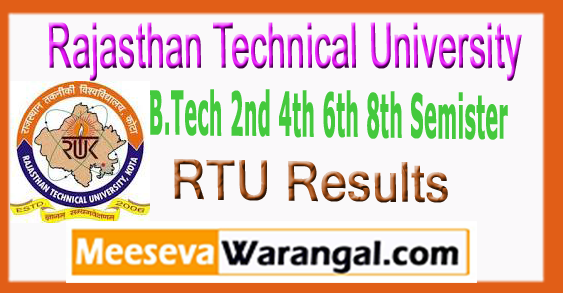 RTU Rajasthan Technical University B.Tech 2nd 4th 6th 8th Semister Results 2017