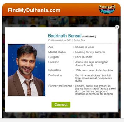 Hilarious matrimonial ad by varun dhawan