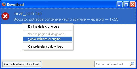 Copiare link file da cronologia download Firefox
