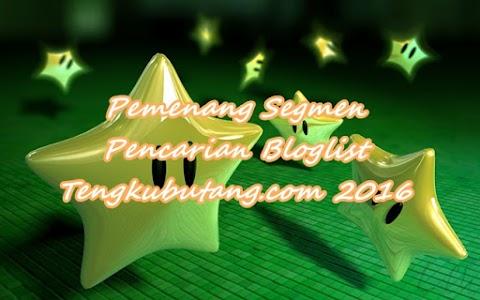 Peserta Bertuah Segmen Pencarian Bloglist TengkuButang.com 2016