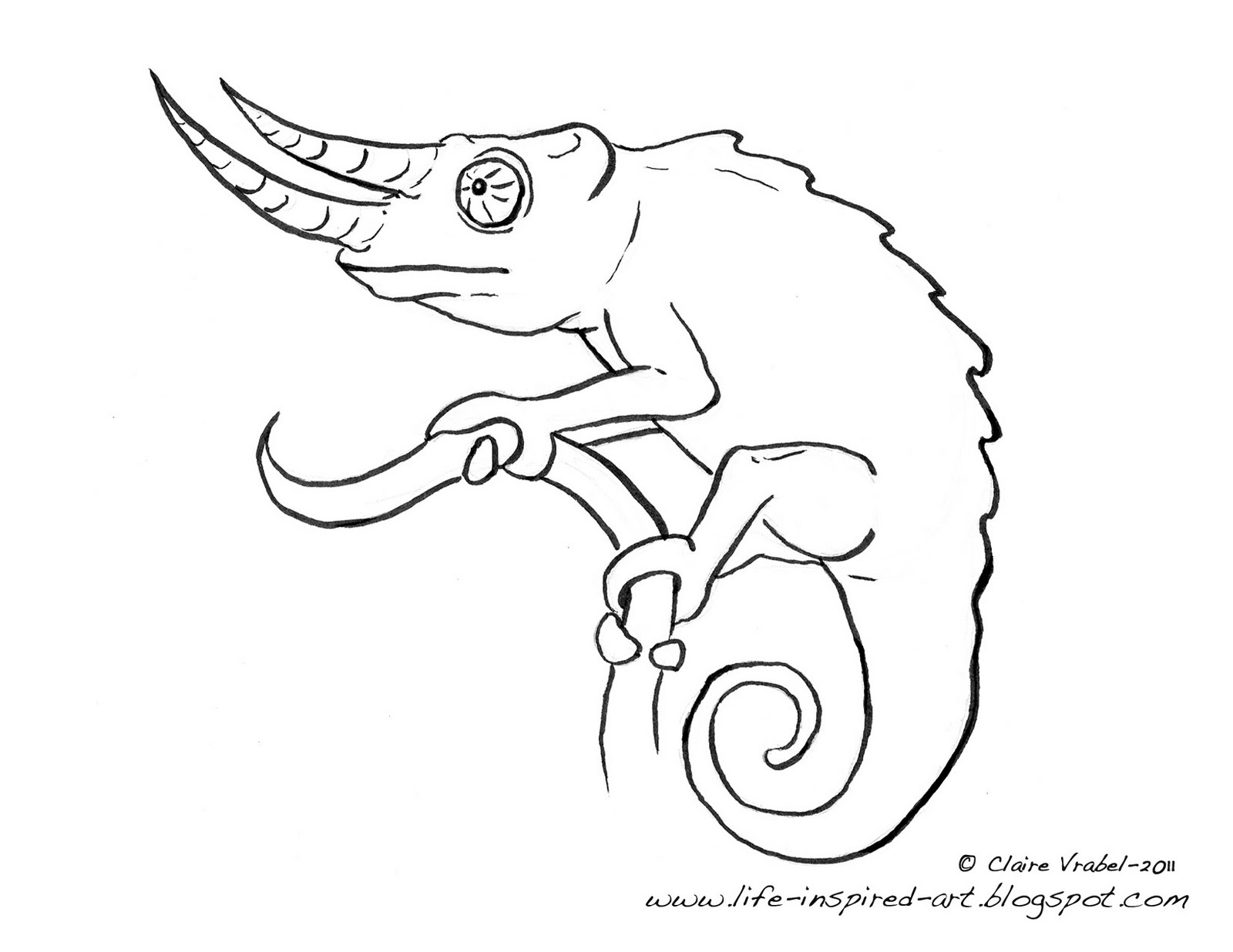 chameleon coloring pages free | Life Inspired Art: How to Draw a Chameleon!