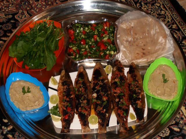 سمك بوري مشوي ـ سلطة بابا غنوج ـ سلطه خضرا طريقة السمك المشوي