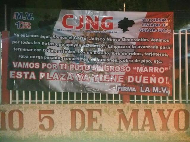 """Vamos por ti mugroso Marro, esta plaza ya tiene dueño"""" El CJNG deja amenaza con narcomanta en Guanajuato"""