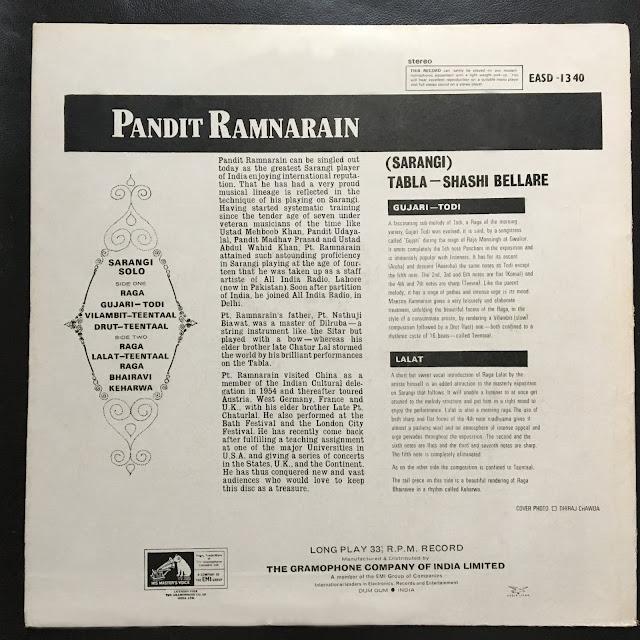 Ram Narayan Ram Narain Hindustani North Indian Raga music musique indienne sarangi tabla vinyl records collection community
