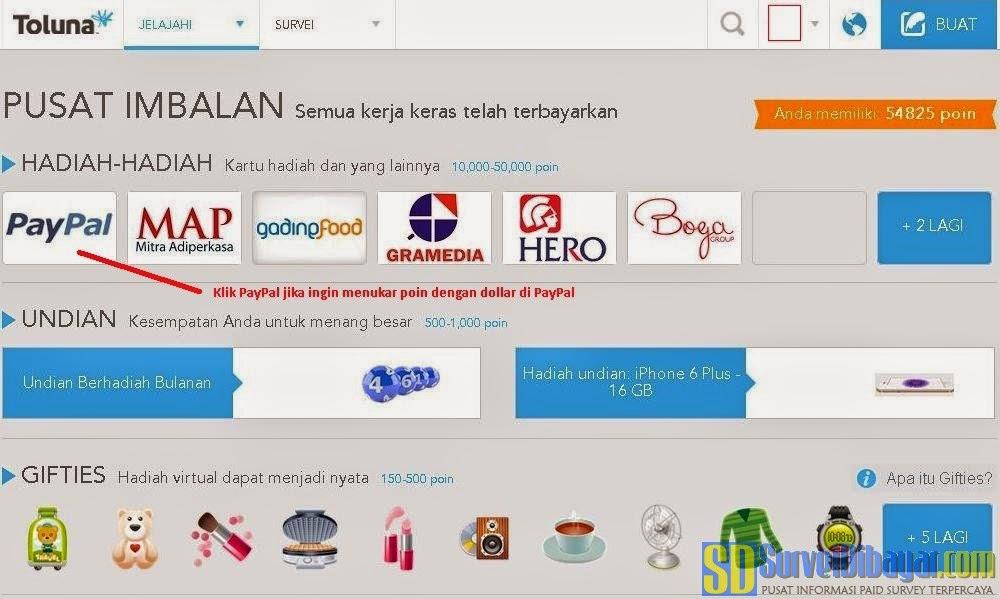 Pilih PayPal pada pilihan HADIAH-HADIAH | Survei Dibayar