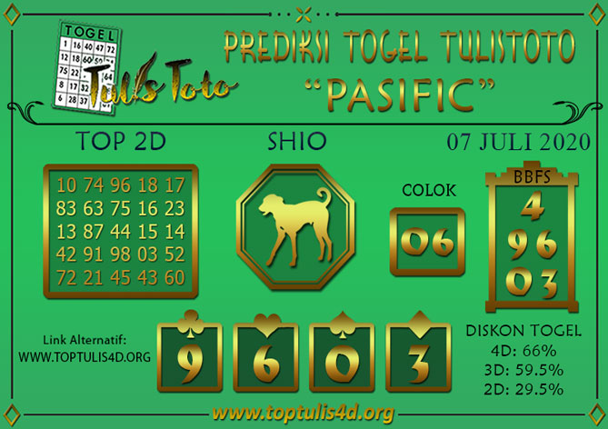 Prediksi Togel PASIFIC TULISTOTO 07 JULI 2020