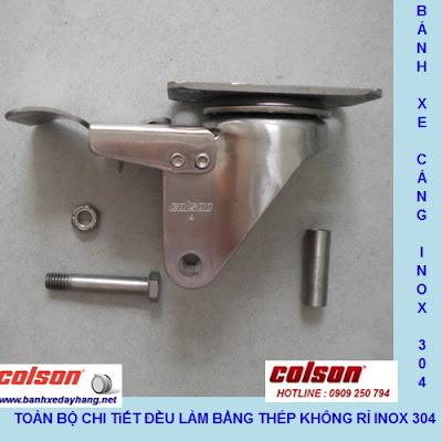 Chi tiết Bánh xe cao su 100x32mm càng inox 304 cố định Colson | 2-4408-444