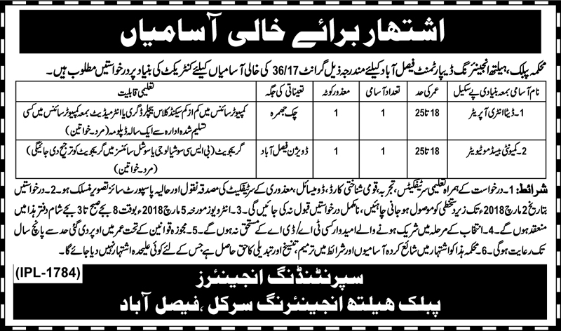 Jobs in Public Health Engineering Department Faisalabad Feb 2018