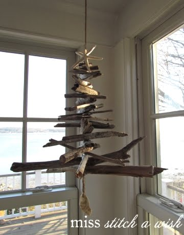 driftwood tree hung from ceiling
