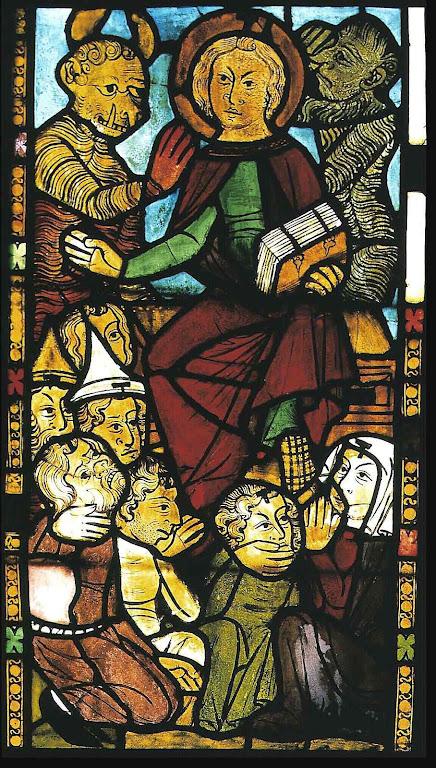O anticristo quererá reinar como rei e ditador universal. Vitral na igreja de Santa Maria, Frankfurt, Alemanha.