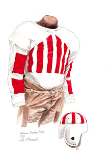 1930 Alabama Crimson Tide football uniform original art for sale