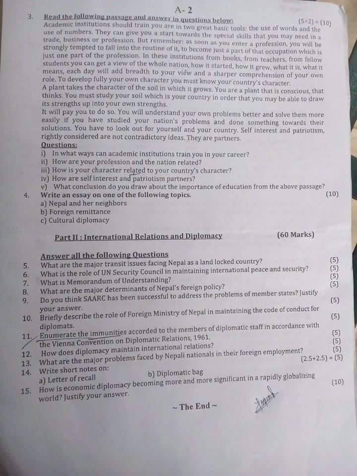 Nayab Subba Fourth Paper of English Language and Diplomacy 2075-01-17