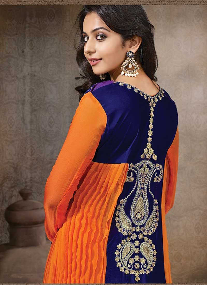 Rakul Preet Photos In Embroidery Georgette Orange Anarkali Dress