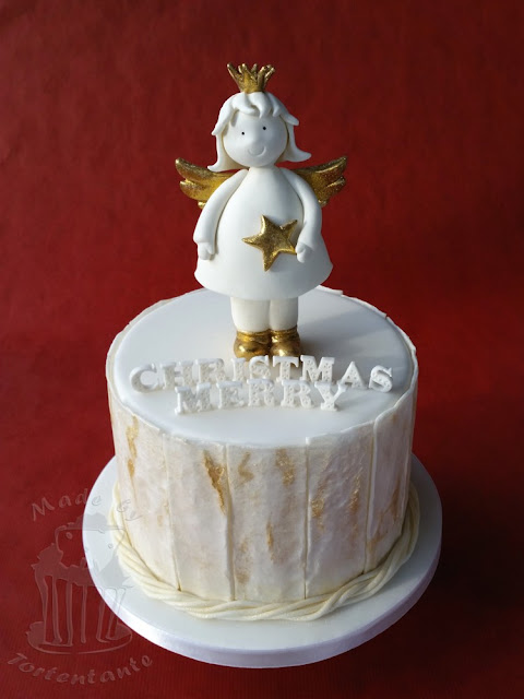 christmas cake white gold wood weathered