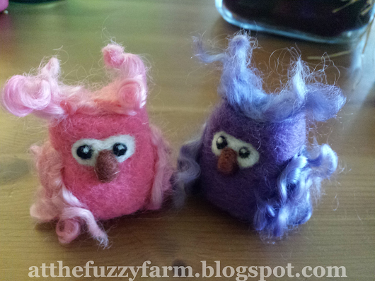 Needle Felted Owls Using Curly Wool for Wings!