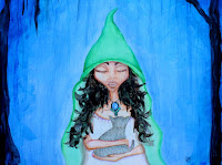 Whimsical Fairy Elf in Woods Forest Cat Acrylic Painting Illustration