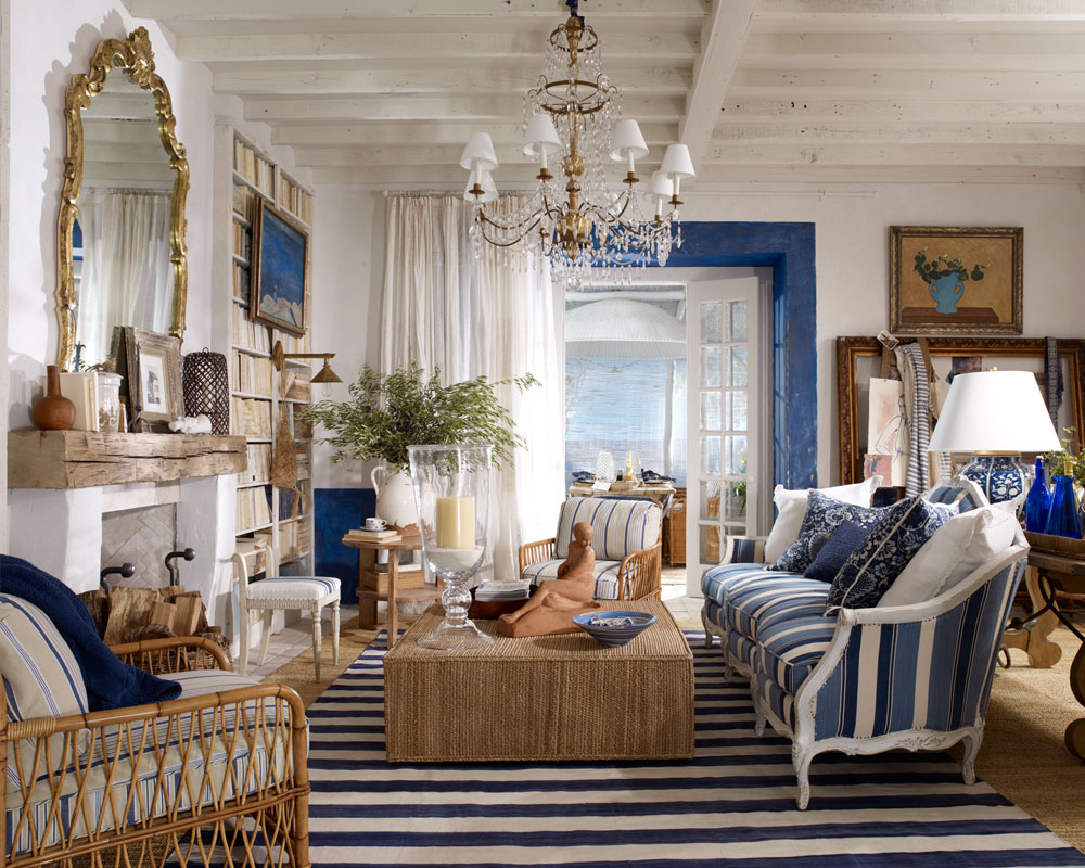 Paisley curtain another episode of ralph lauren interiors - Blue and white interior design ideas ...